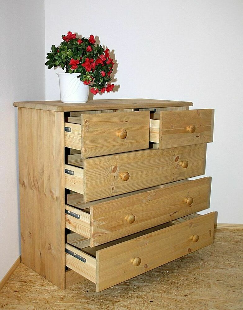 massivholz anrichte kiefer gelaugt ge lt schubladen kommode w sche schrank ebay. Black Bedroom Furniture Sets. Home Design Ideas