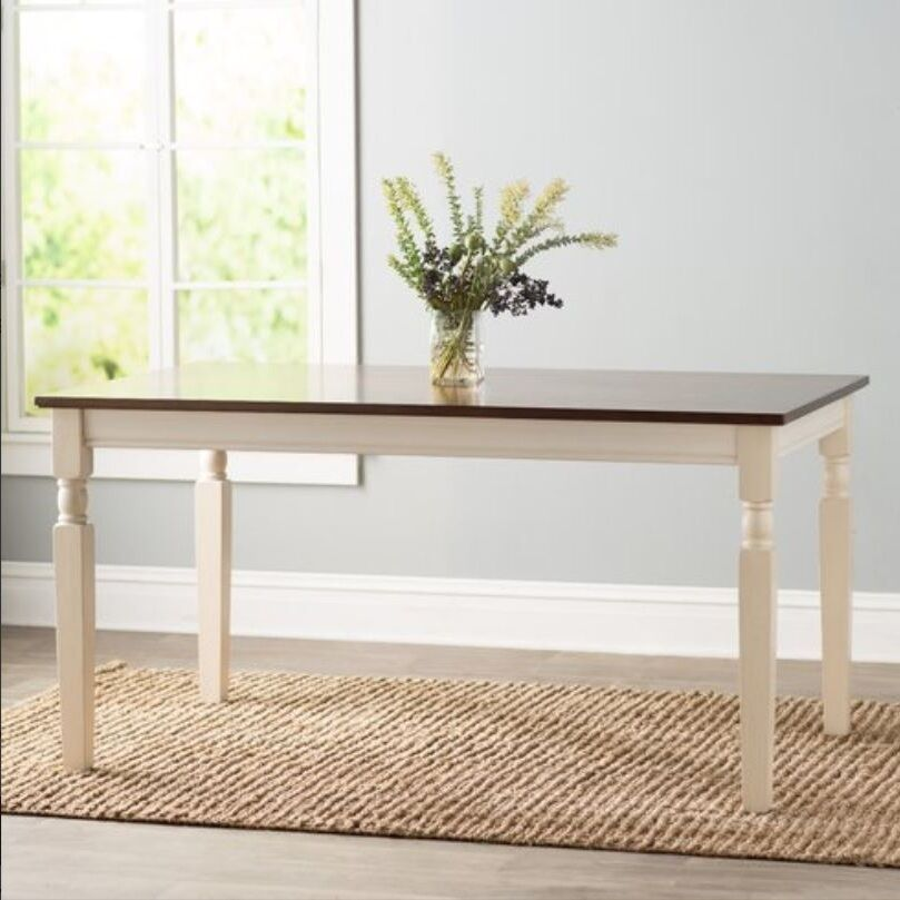 Farmhouse dining table home kitchen solid wood cottage dining room tables 2 tone ebay - Two tone dining room tables ideas ...