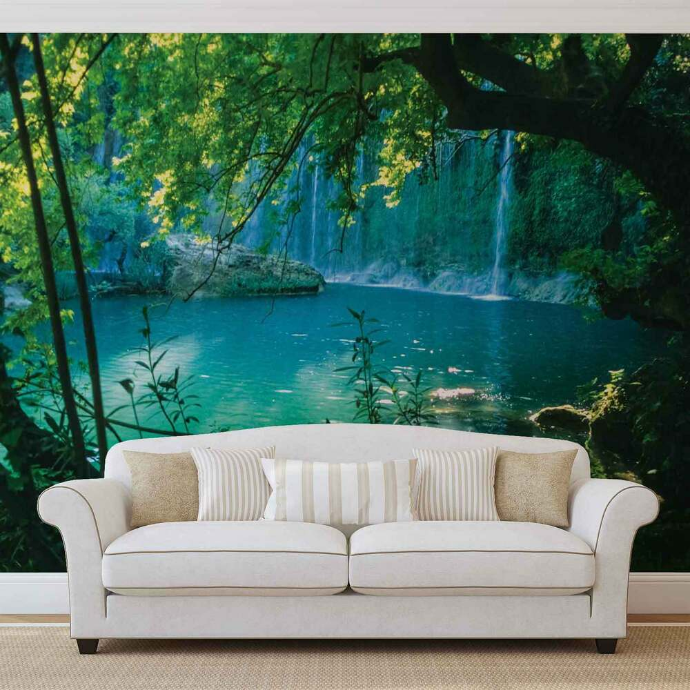 Wall mural photo wallpaper xxl tropical waterfall lagoon for Tapete wald