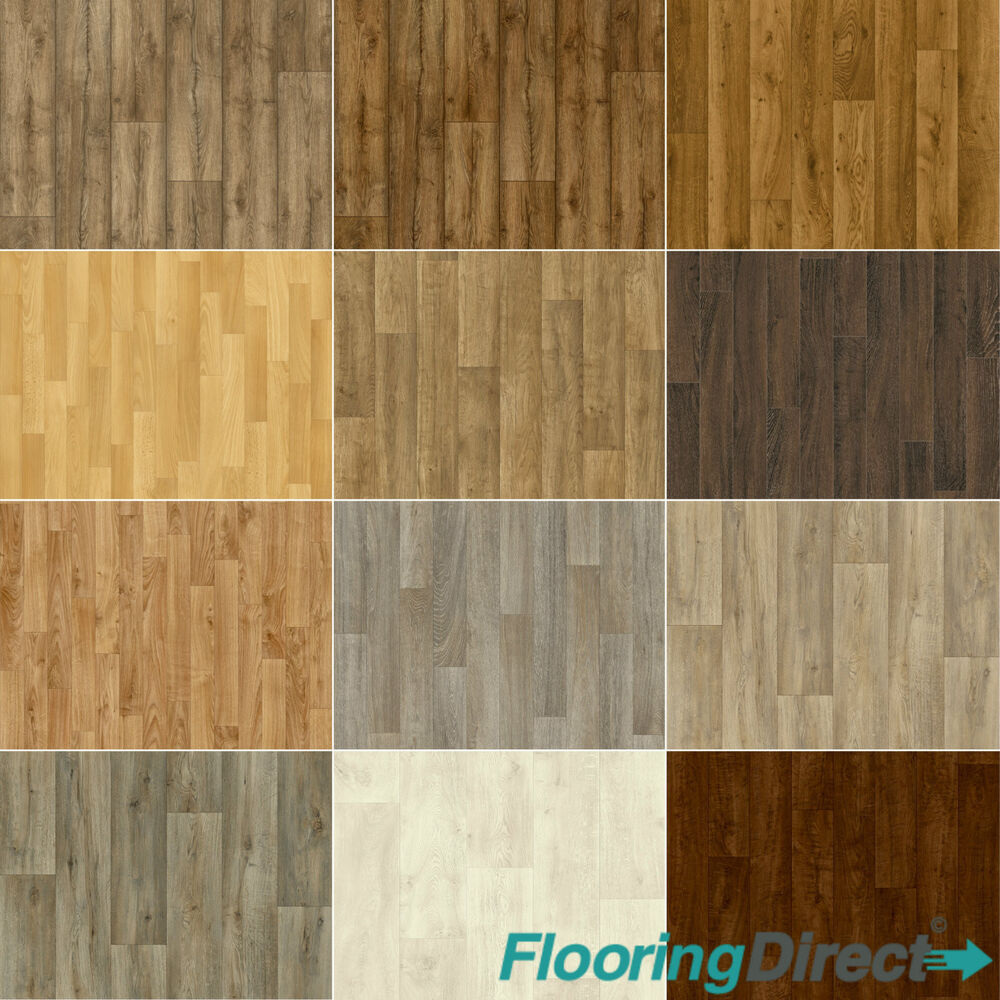 Wood effect non slip vinyl flooring lino kitchen bathroom for Cushion floor tiles kitchen