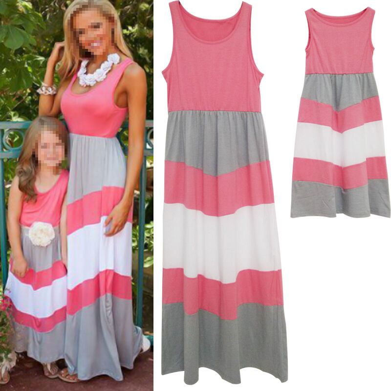 Summer Family Clothes Mother Daughter Beach Dresses Womens ...