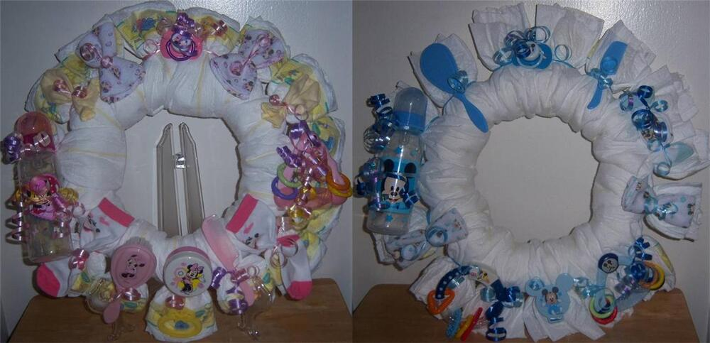 Baby Shower Mickey Mouse Or Minnie Mouse Diaper Wreath Ebay