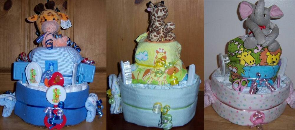 baby shower 2 tier safari diaper cake pink blue or neutral ebay