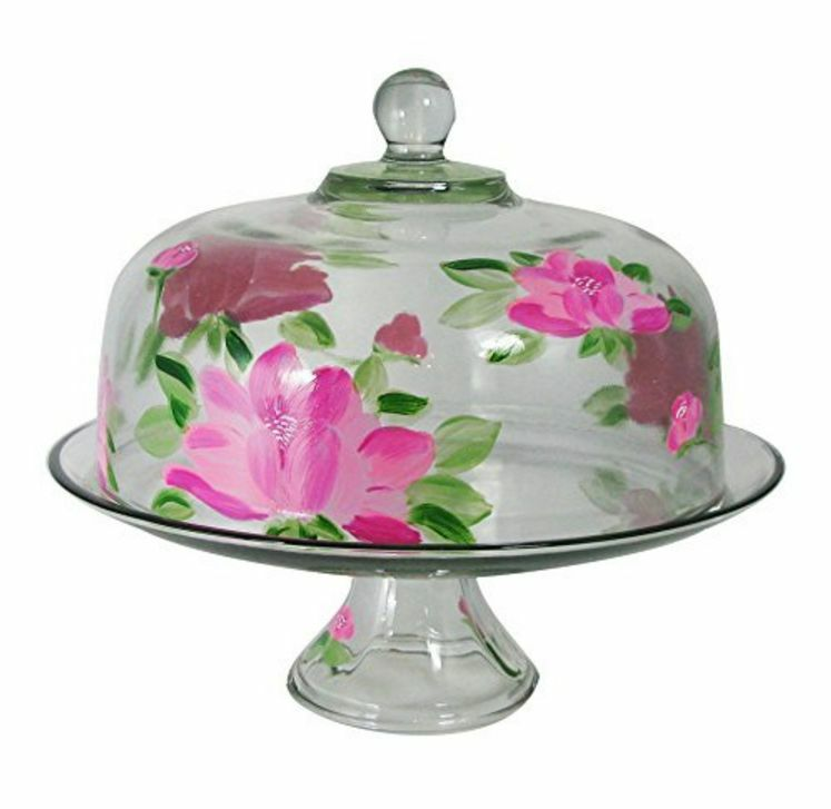 cake plate with dome peony glass cake pie plate amp dome cover stand lid 2273