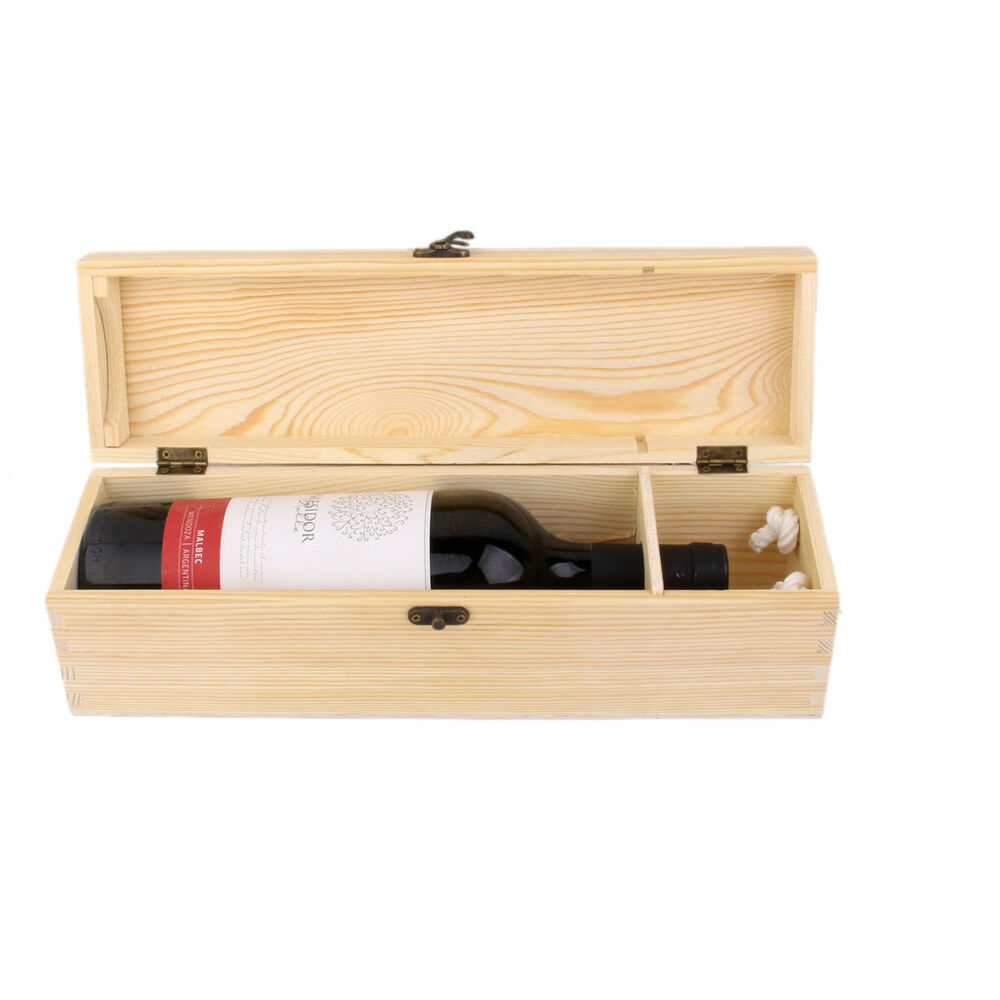 Empty single bottle wood wine case crate wine box carrier for Empty wine crates