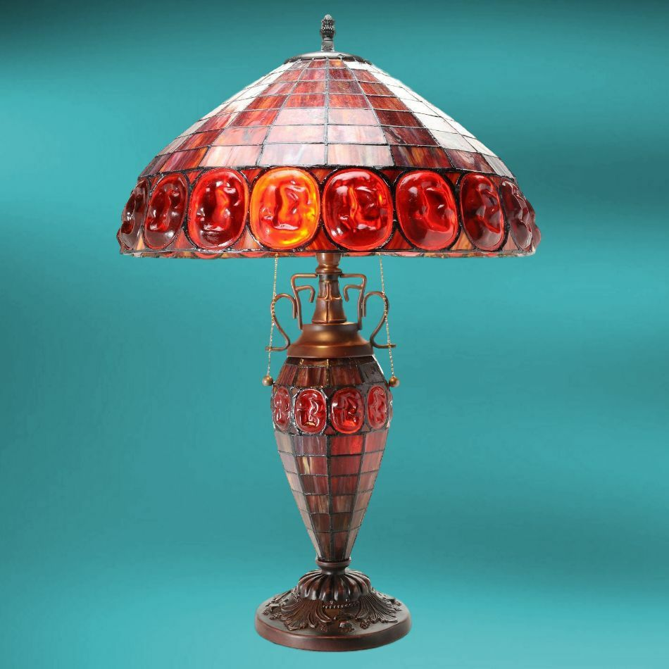 Table Lamp Tiffany Style Red Stained Glass Turtle Back