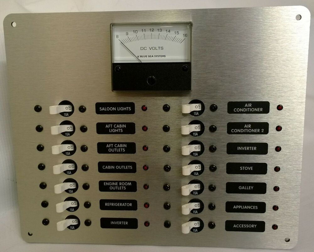 Electrical Distribution Panel With Meter : Marine circuit breaker panel dc distribution with analog