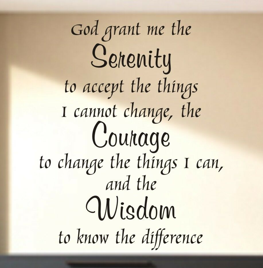 Serenity Prayer Quote Vinyl Wall Decal Art Words Home