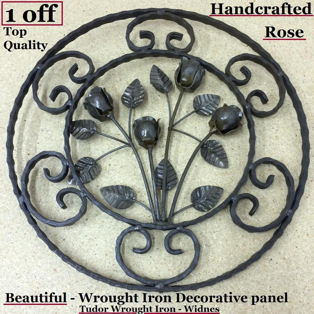 1 wrought iron gates decorative rose panel weldable steel metal railings rails ebay - Wrought iron decorative wall panels ...