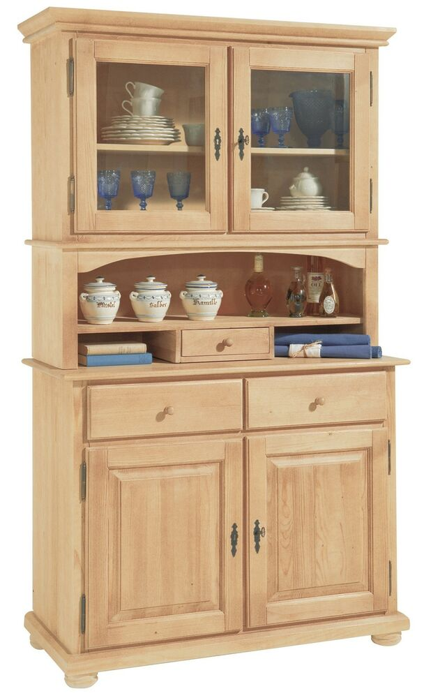 k chen schrank buffet vitrine glas landshut fichte massiv gewachst 138 landhaus ebay. Black Bedroom Furniture Sets. Home Design Ideas