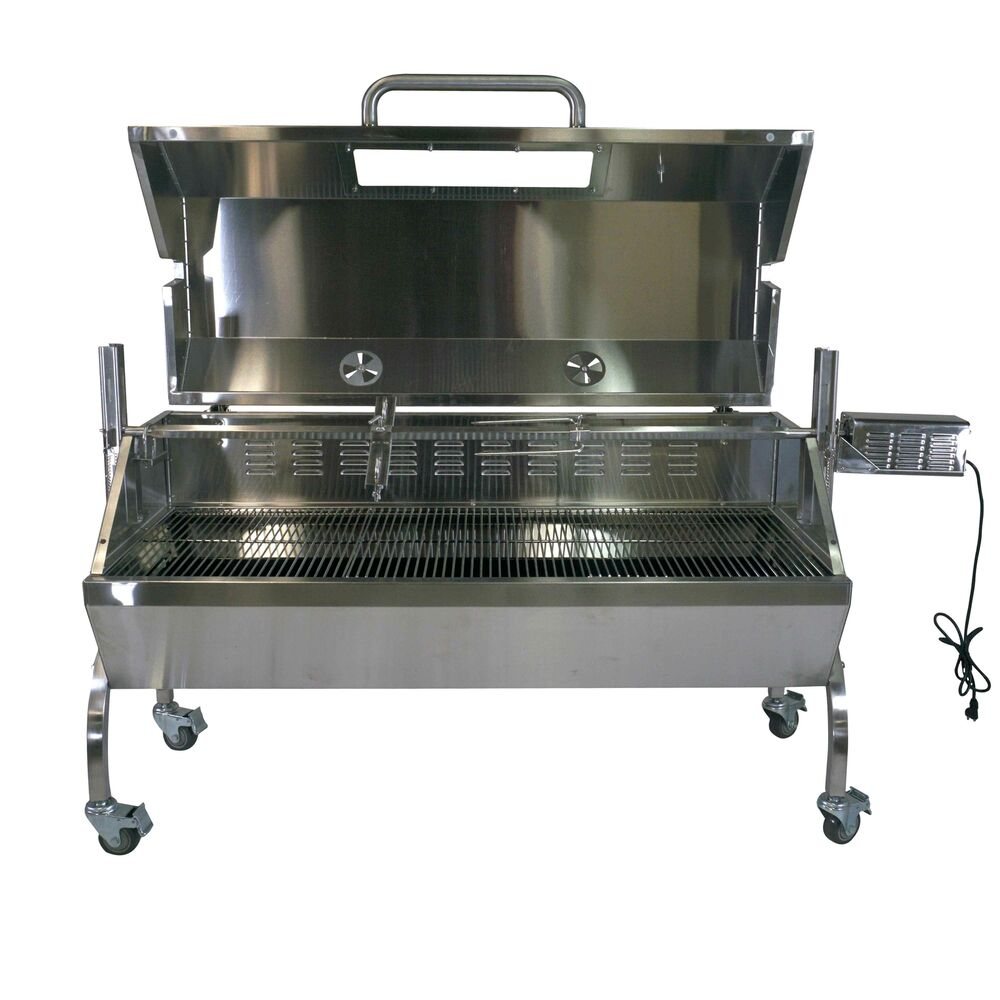 Rotisserie grill roaster spit glass hood stainless steel 25w 125lb capacity bbq ebay - Grill for bbq stainless steel ...