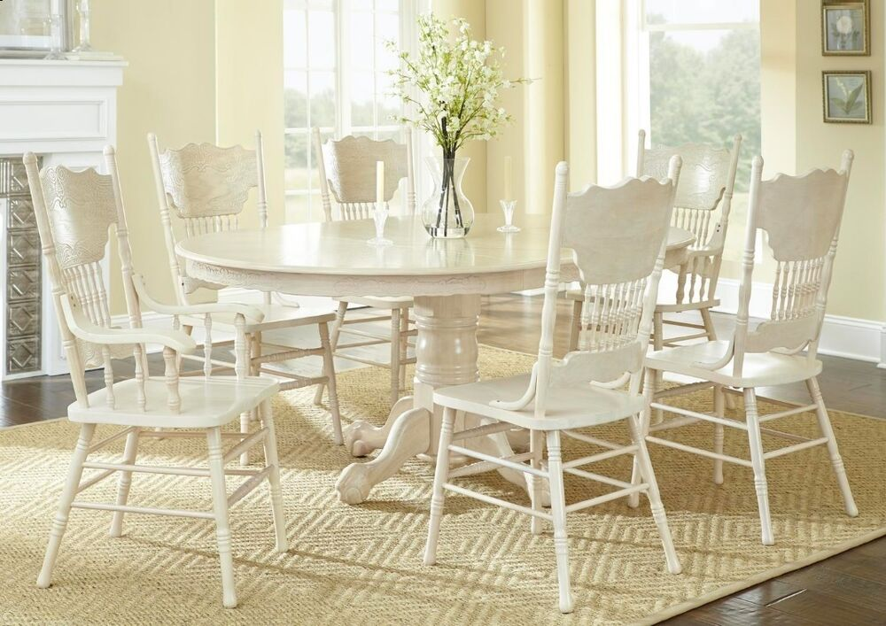 Antique Formal Oval Dining Table Arm And Side Chairs 7pc Dining Set White Was