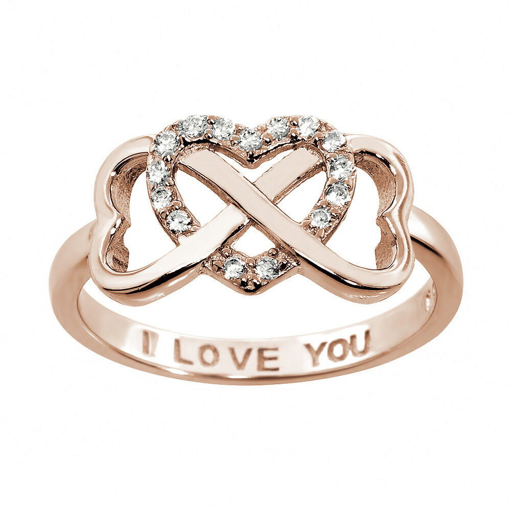 Sterling Silver Infinity Ring I Love You