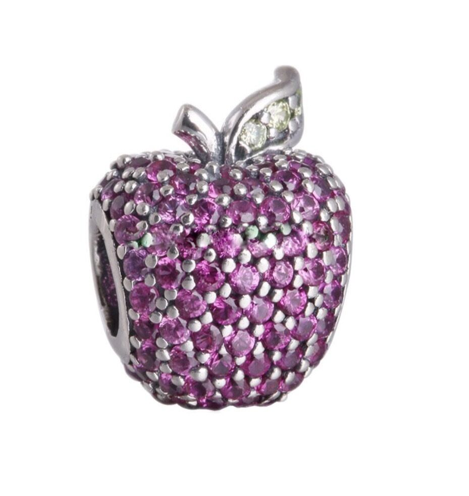 New Authentic Pandora Sterling Silver Red Pave Apple Charm
