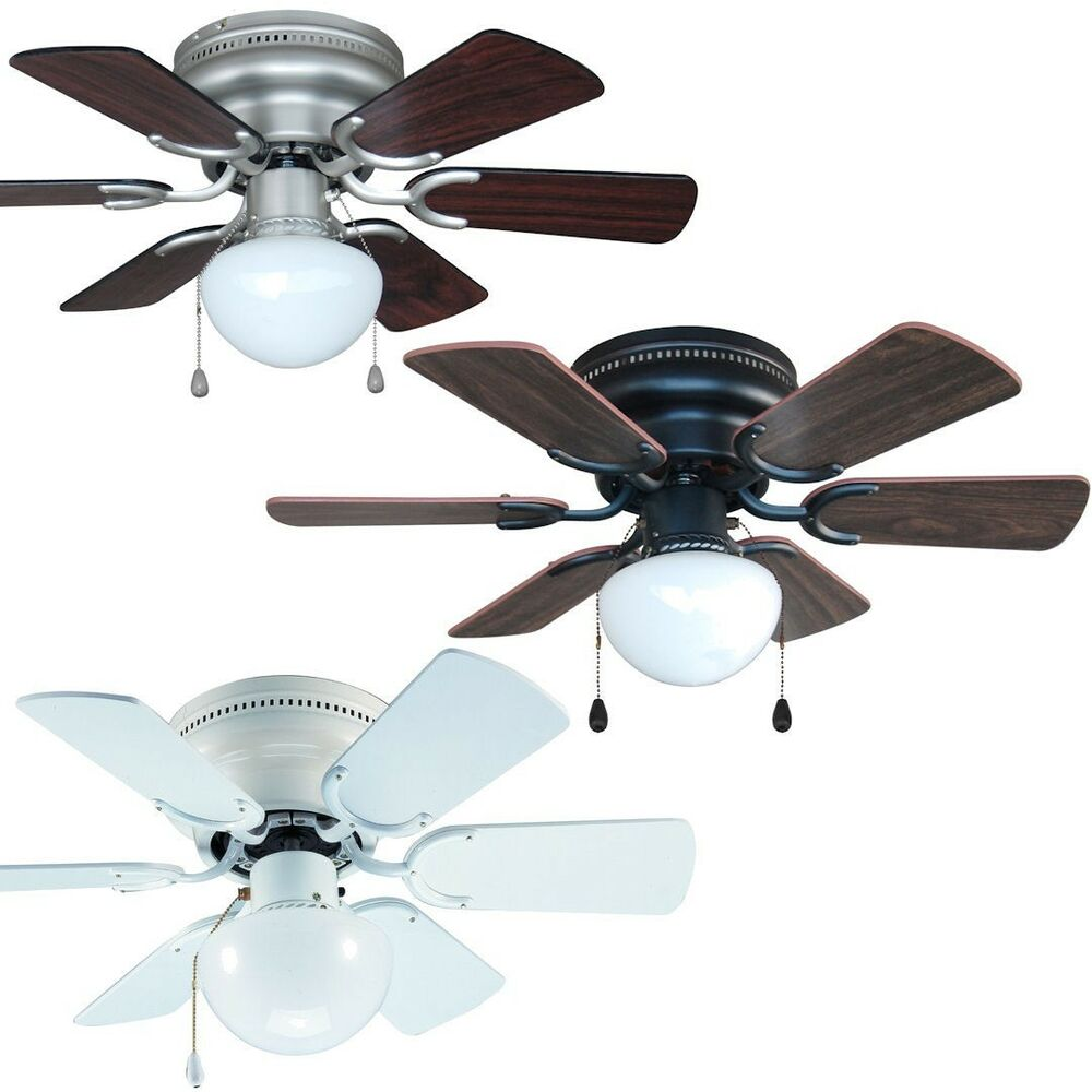 30 inch flush mount hugger ceiling fan w light kit satin nickel bronze or white ebay. Black Bedroom Furniture Sets. Home Design Ideas