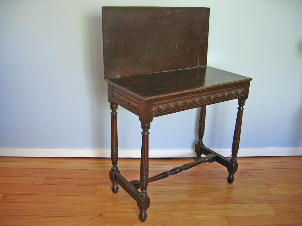 Antique Folding Top Side Table With Hidden Storage Solid