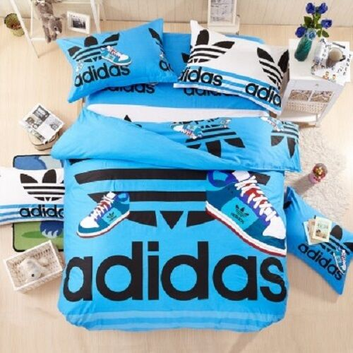 Queen Size Blue Adidas Duvet Cover Bedding Set Boys Girls