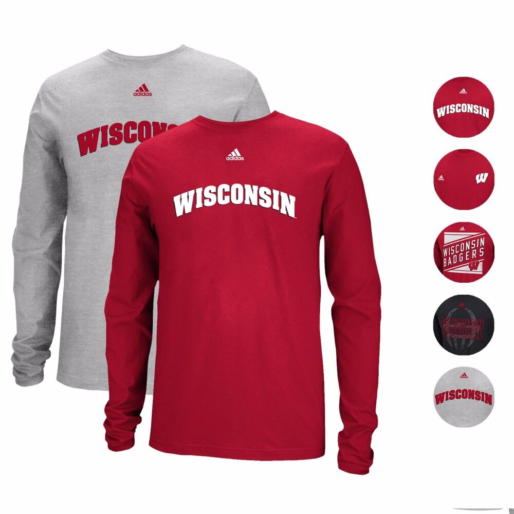Wisconsin badgers adidas ncaa longsleeve graphic t shirt for Mens wisconsin badger shirts