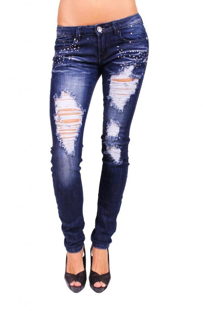 Machine Jeans Women Distressed Skinny Jeans With Petal