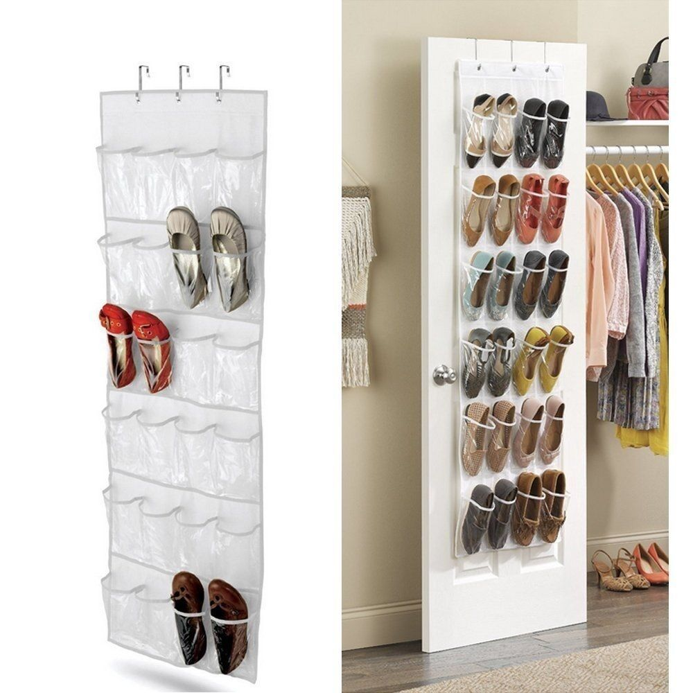 Over the door clear shoes organizer hanging storage rack for Door shoe organizer