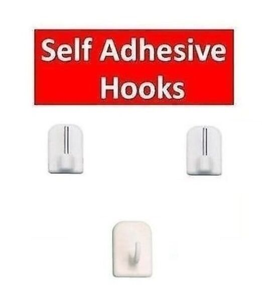 Self Adhesive Stick On Net Curtain Wire Rod End Hooks