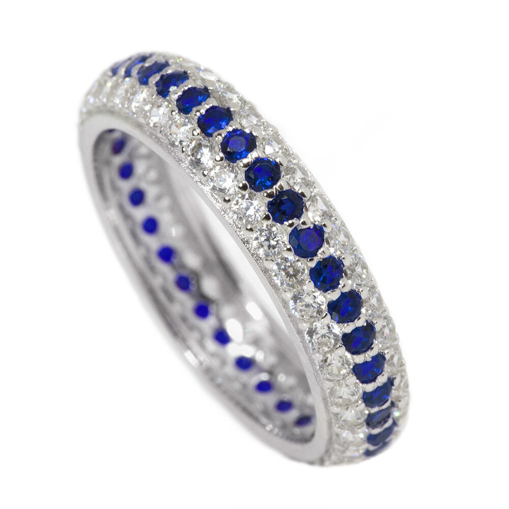 Thin Blue Line Eternity Ring Cz Sterling Silver Clear And Blue Stones Ebay