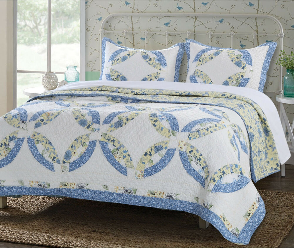 Matrimonio Country Chic Quilt : Blue yellow wedding ring king quilt set country chic