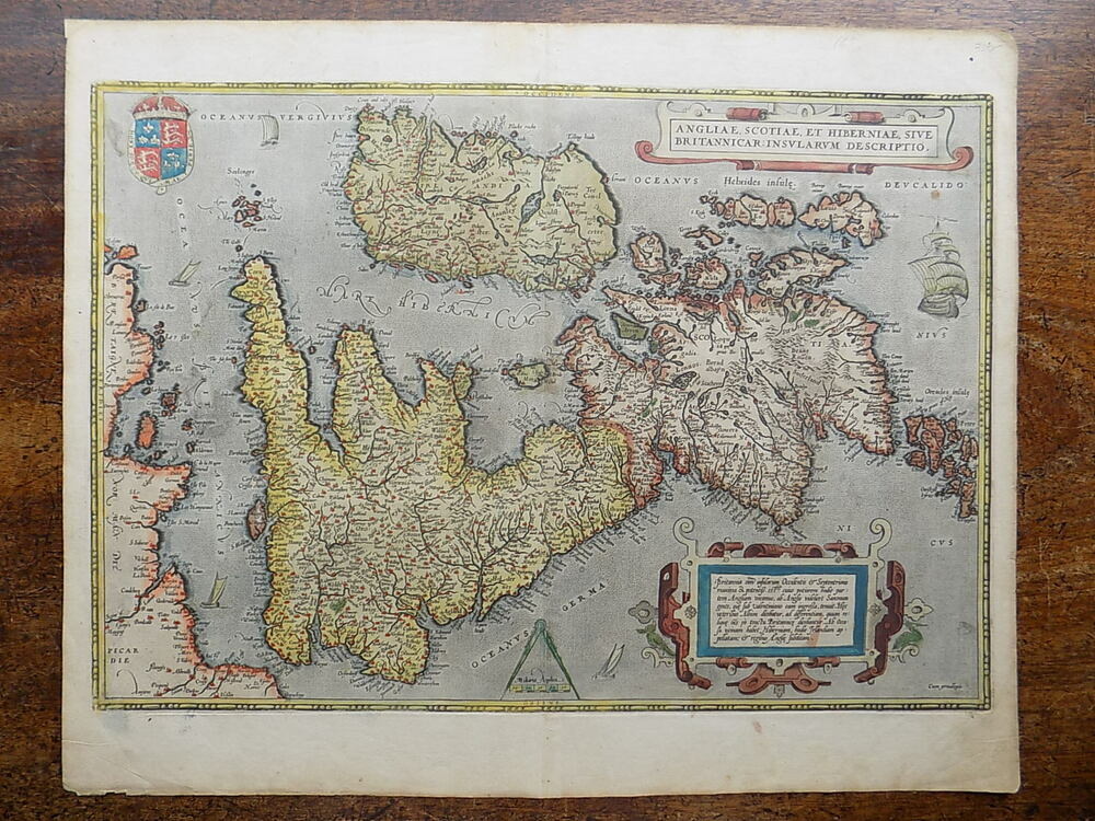 1570 Ortelius Map Great Britain England Wales Scotland ...