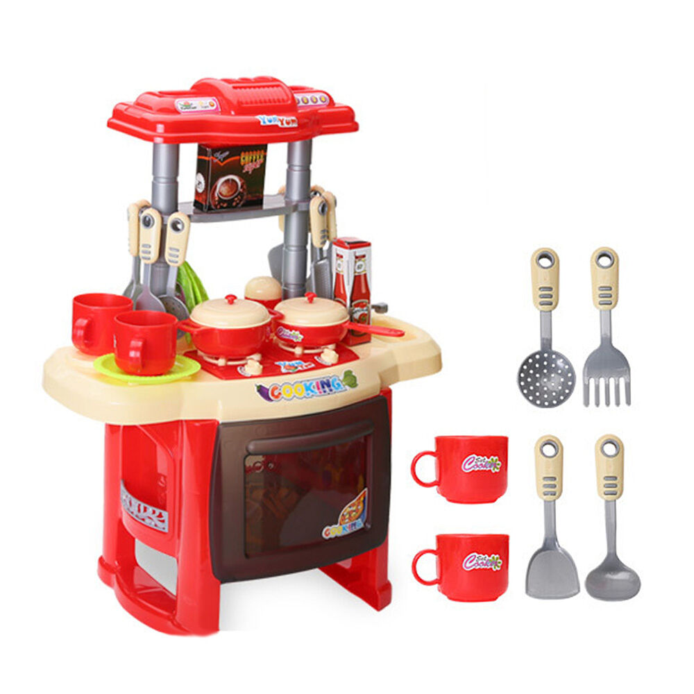 Pretend Play Toys : Kids kitchen cooking electronic pretend play toy set with