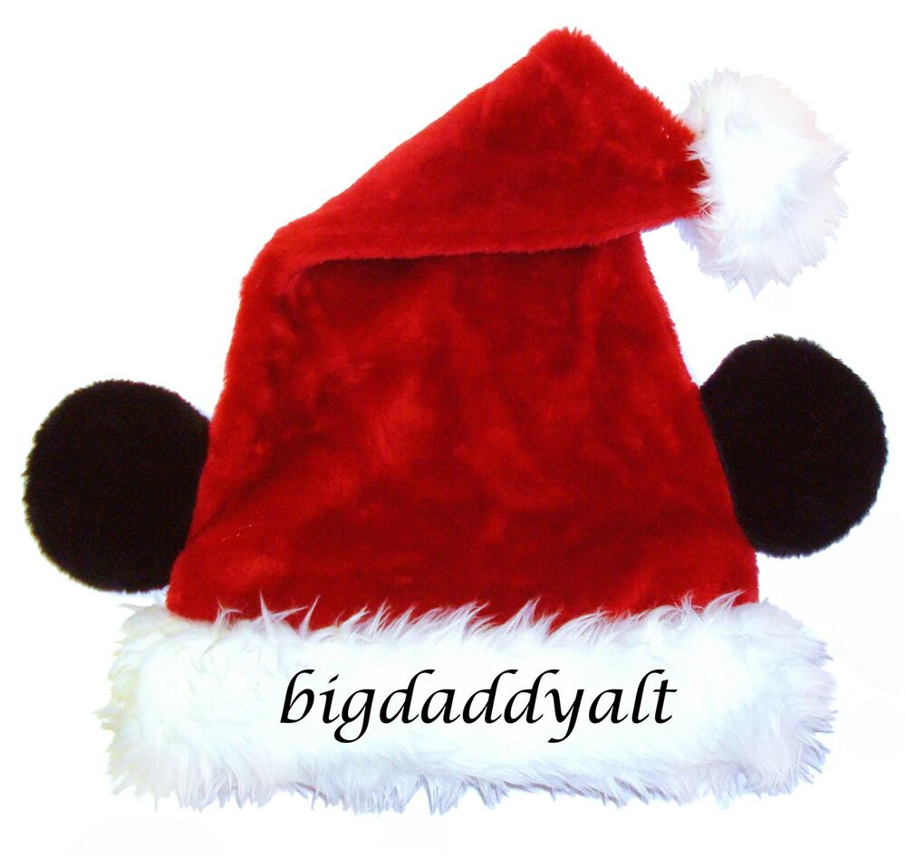 8bcc9ae9e49fa Details about NEW DISNEY WORLD MICKEY MOUSE EARS CHRISTMAS SANTA HAT ADULT