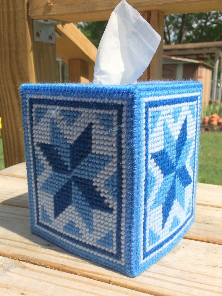 Blue Quilt Star Tissue Cover Handmade Boutique Size