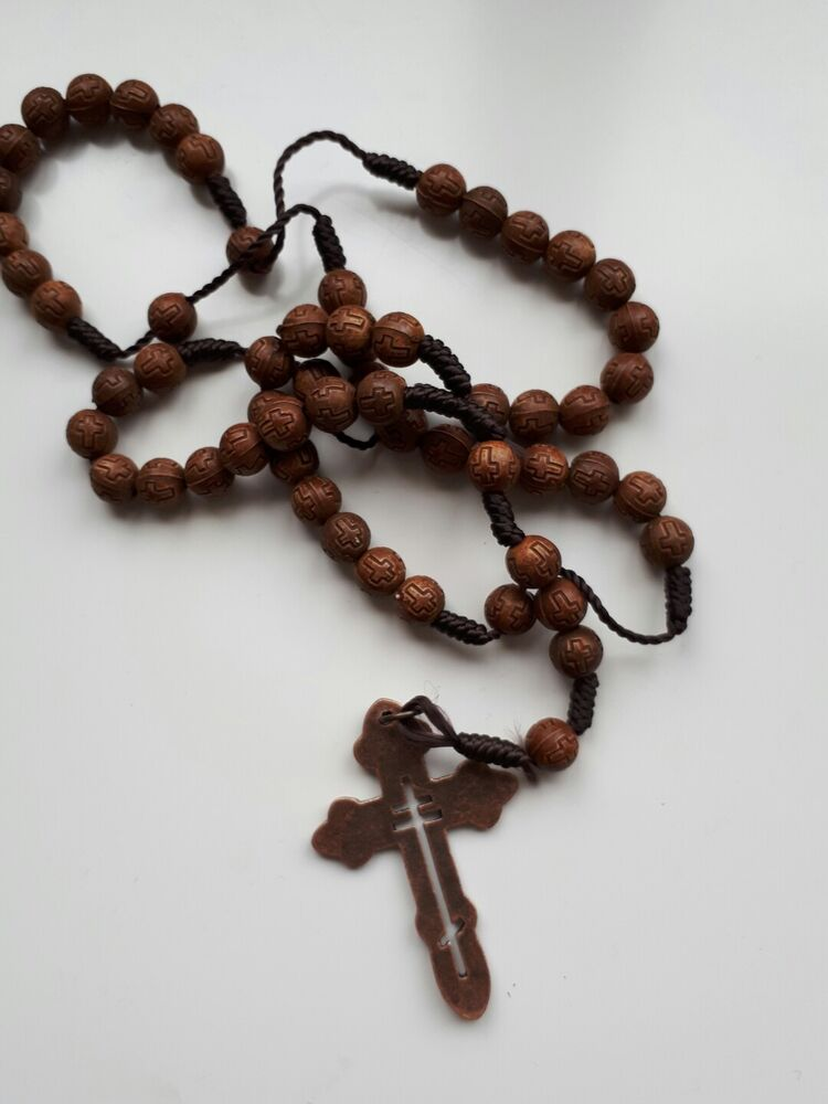 Rosary Beads Wooden Cross Necklace Pendant Chain Brown