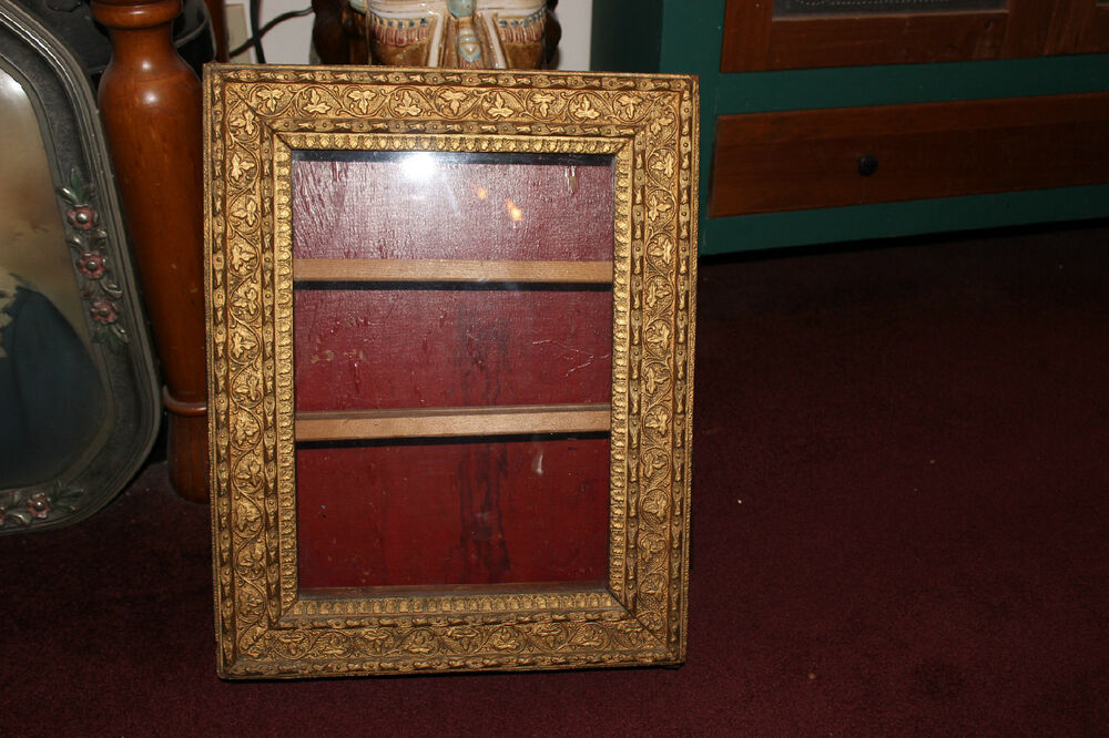 Antique Gilded Gold Leaf Wood Medicine Cabinet Wall Shelf