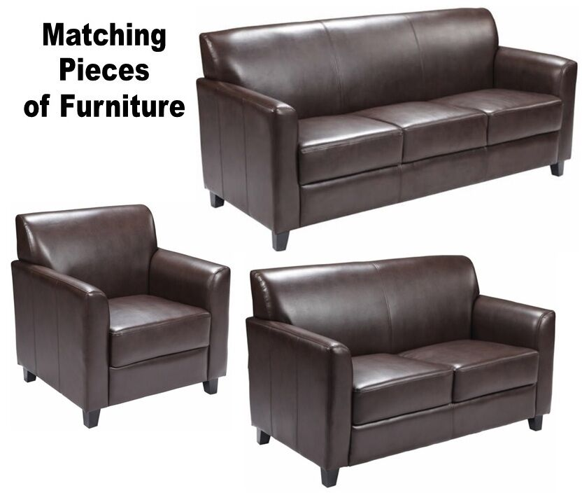 MATCHING Brown Leather Furniture Sofa Loveseat Chair Sofas