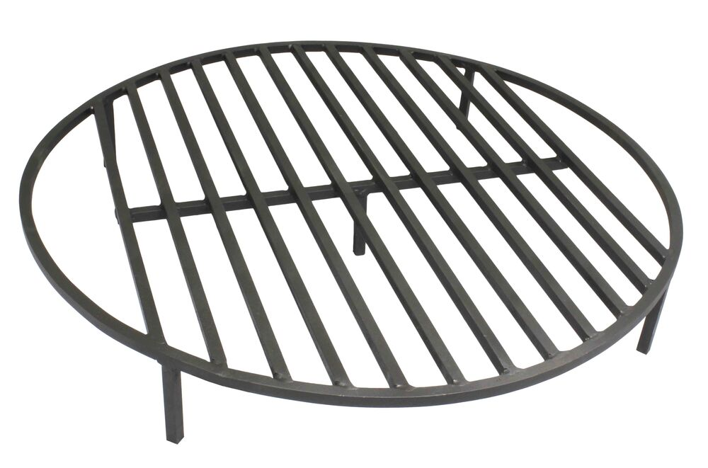 Round fire pit grate 30 heavy duty grill cooking campfire camp ring