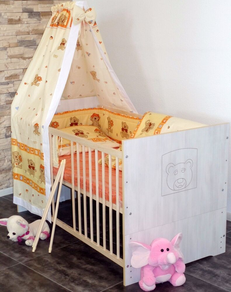babybett gitterbett komplett set kinderbett 5farben umbaubar 60x120 wei rosa ebay. Black Bedroom Furniture Sets. Home Design Ideas