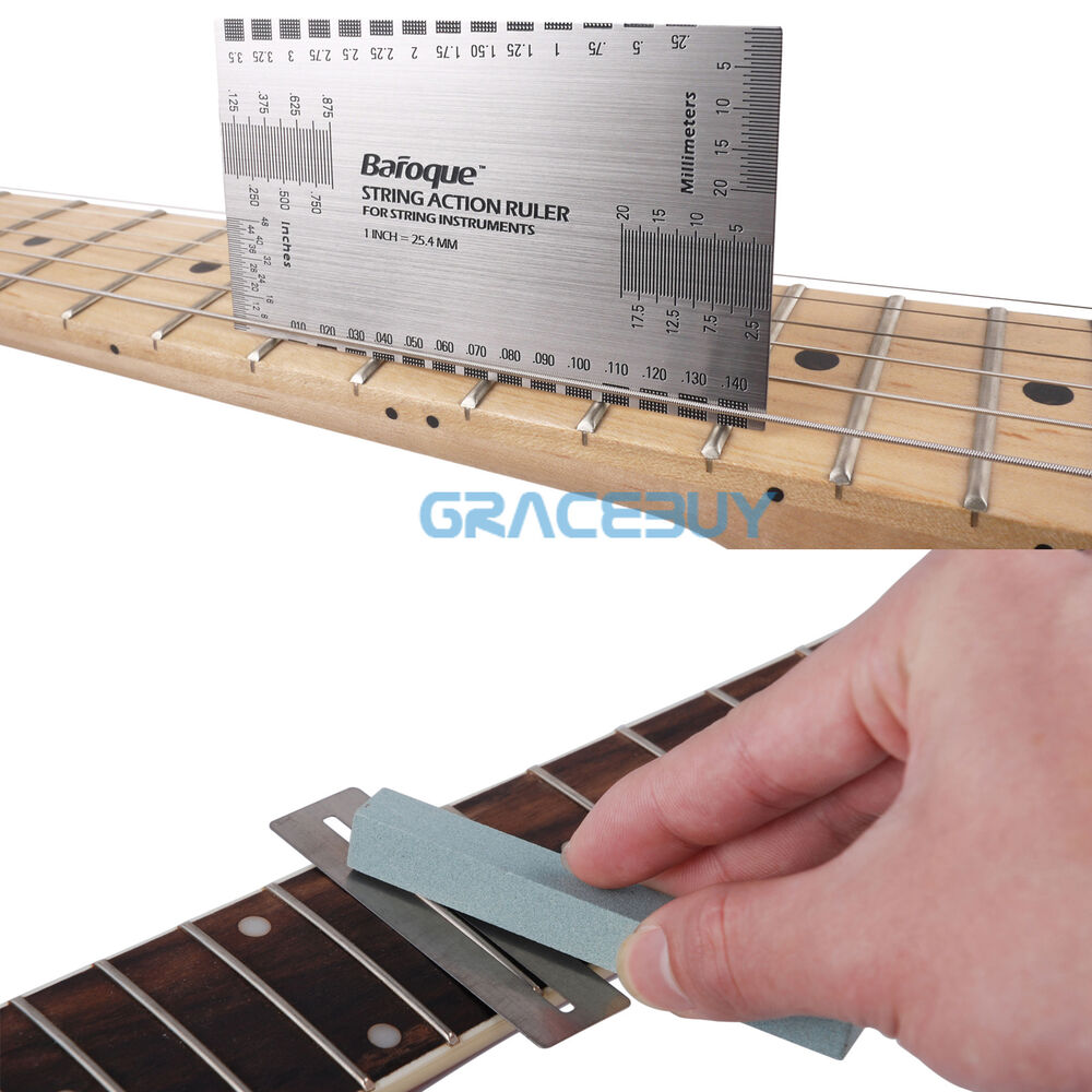 guitar string action gauge ruler fret protector guard fretwire sander polish ebay. Black Bedroom Furniture Sets. Home Design Ideas