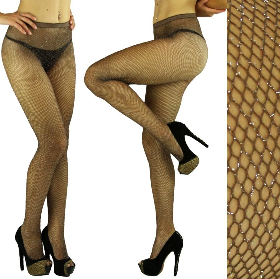 Coffee silver glitter fishnet pantyhose tights for Fish net tights