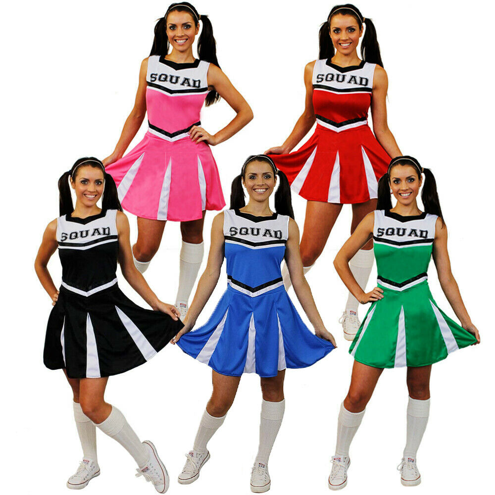 LADIES CHEERLEADER COSTUME ADULT CHEER LEADER SQUAD FANCY DRESS HIGH SCHOOL  sc 1 st  eBay & LADIES CHEERLEADER COSTUME ADULT CHEER LEADER SQUAD FANCY DRESS HIGH ...