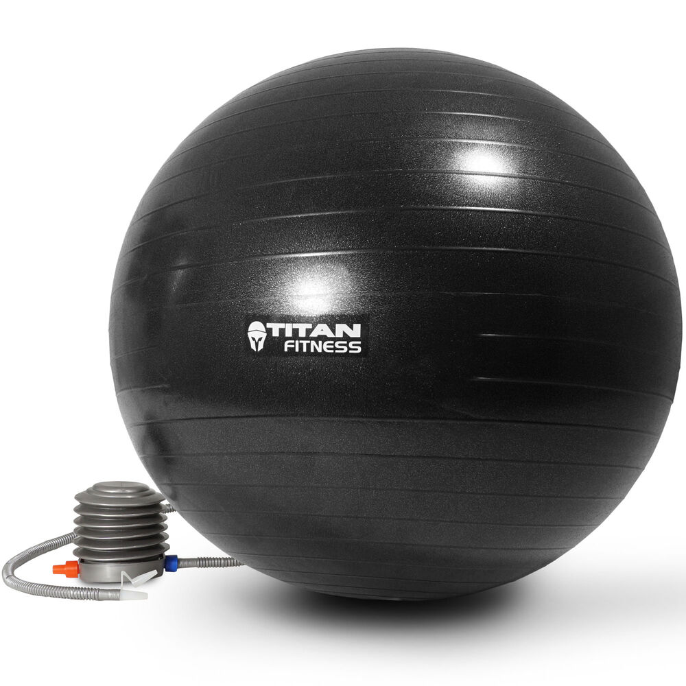 Titan Fitness Exercise Stability Ball Black 65cm Yoga Pilates Anti Burst w/ Pump | eBay
