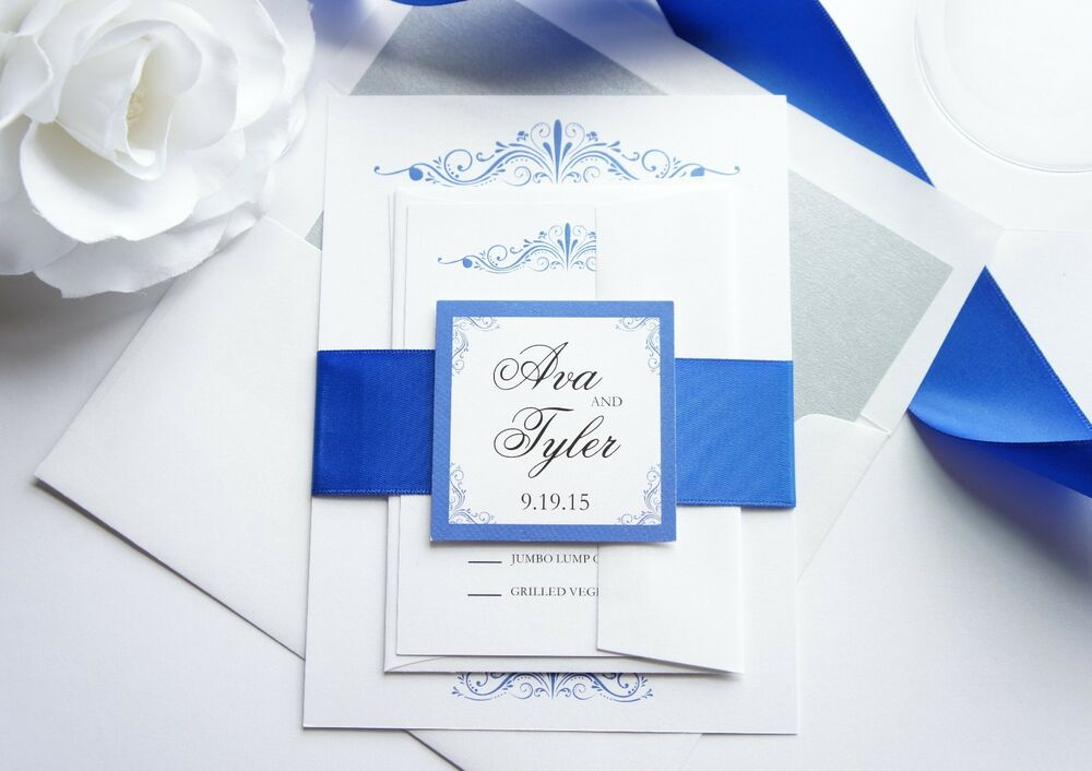 Royal blue wedding invitation sample set ebay for Ebay navy wedding invitations