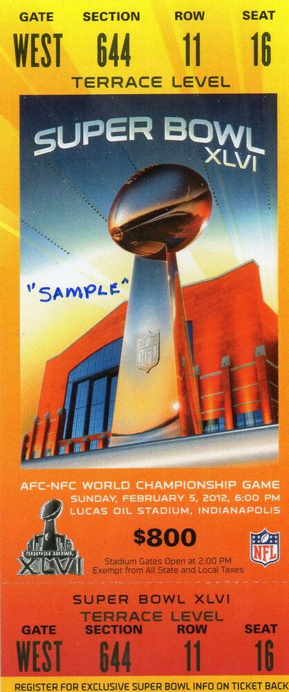 Complete Super Bowl Tickets Gallery