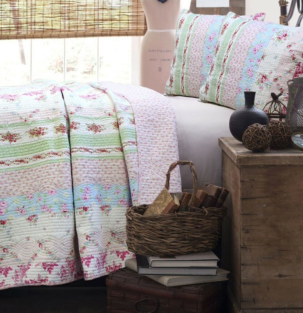 Wild Pink Rose Full Queen Quilt Set Shabby Floral Chic
