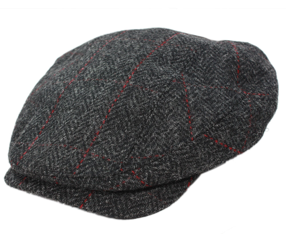 Irish Flat Cap Charcoal Herringbone Tweed Made In Ireland