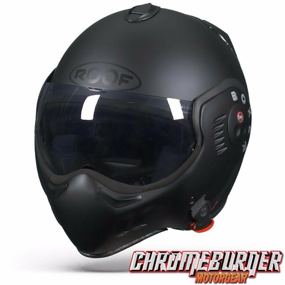 roof boxer v8 full black motorcycle helmet new ebay. Black Bedroom Furniture Sets. Home Design Ideas