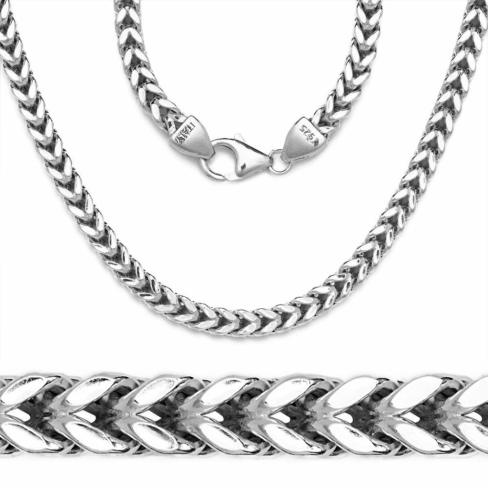 White Gold Chain Bracelet: Mens Franco Italy Chain 14K White Gold 925 Sterling Silver