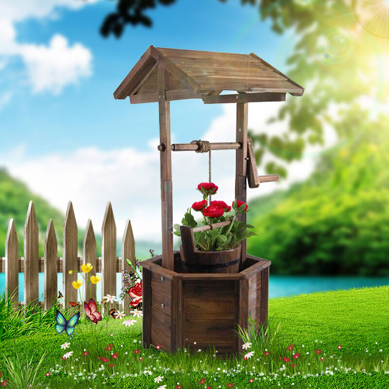 Outdoor garden patio wishing well rustic fir wooden flower for Patio garden accessories