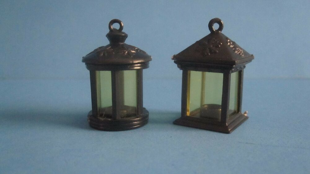 Miniature Black Lanterns Lamps Old Fashioned Dollhouse
