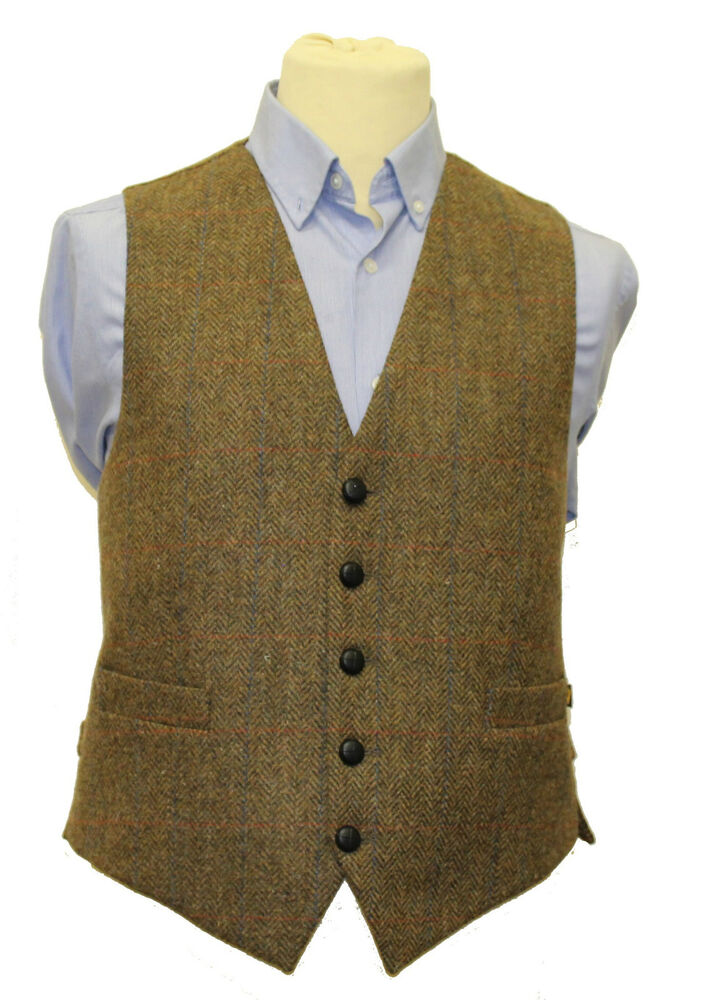 Mens Full Back Wool Tweed Vest Brown From Ireland Ebay