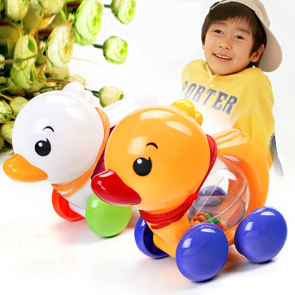 toddler kids baby learn walk toy classic pull along plastic duck musical toy ebay. Black Bedroom Furniture Sets. Home Design Ideas